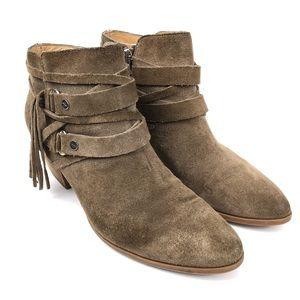 Franco Sarto Gonzalez Fringe Ankle Boots Western 8